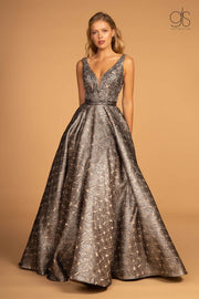 Embroidered Sheer V-Neck Jacquard Ball Gown by GLS Gloria GL2539-Long Formal Dresses-ABC Fashion