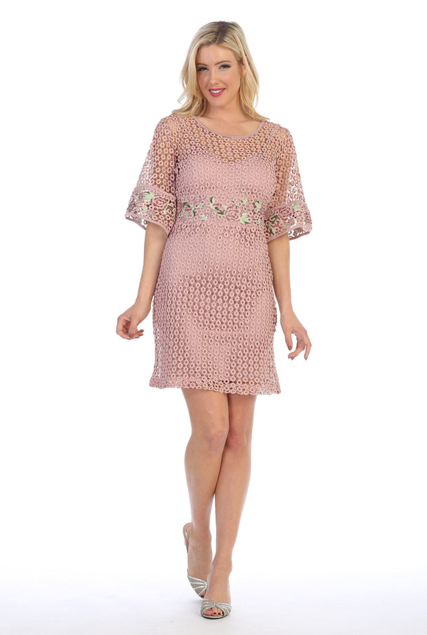 Embroidered Short Eyelet Dress with Sleeves by Celavie 8509-Short Cocktail Dresses-ABC Fashion