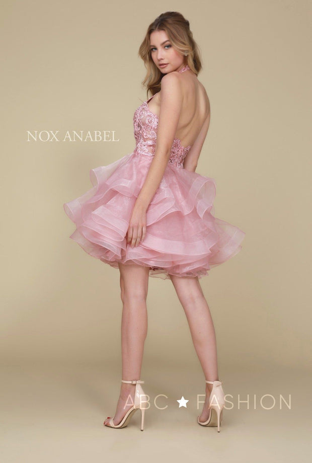 Embroidered Short Halter Dress with Tiered Skirt by Nox Anabel A610-Short Cocktail Dresses-ABC Fashion