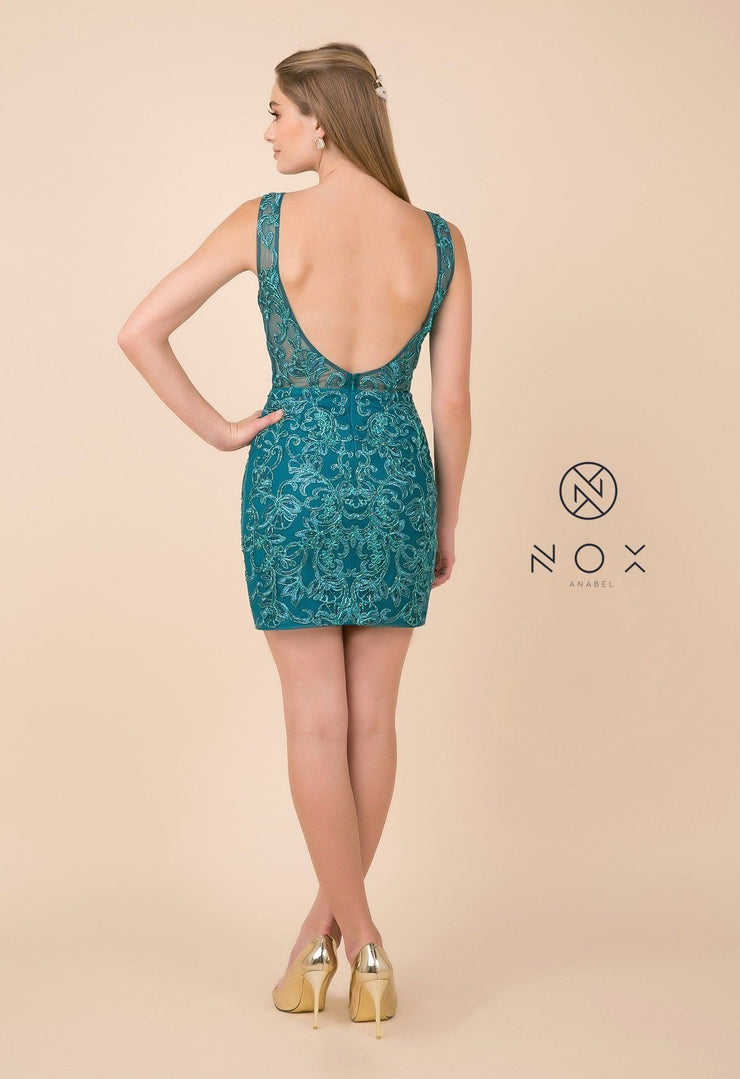 Embroidered Short V-Neck Dress with Open Back by Nox Anabel A671-Short Cocktail Dresses-ABC Fashion