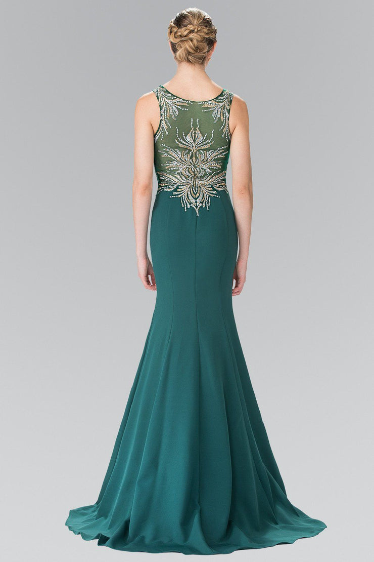 Embroidered Sleeveless Illusion Dress by Elizabeth K GL2323-Long Formal Dresses-ABC Fashion
