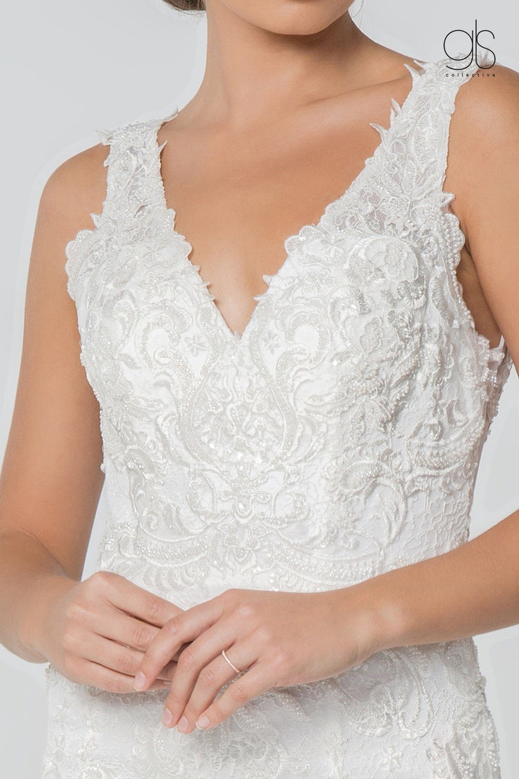 Embroidered Sleeveless Mermaid Wedding Gown by Elizabeth K GL2814-Wedding Dresses-ABC Fashion