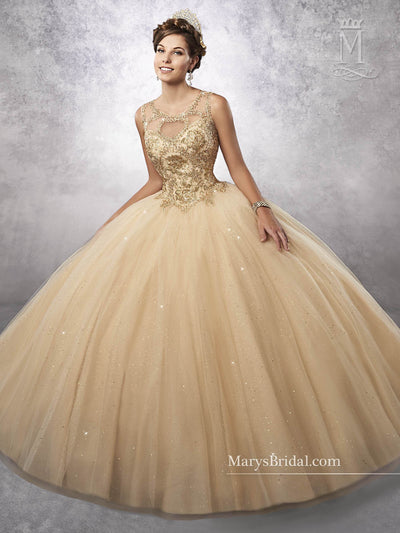 Embroidered Sleeveless Quinceanera Dress by Mary's Bridal 4Q496