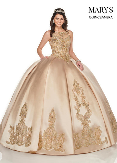 Embroidered Sleeveless Quinceanera Dress by Mary's Bridal MQ2081-Quinceanera Dresses-ABC Fashion