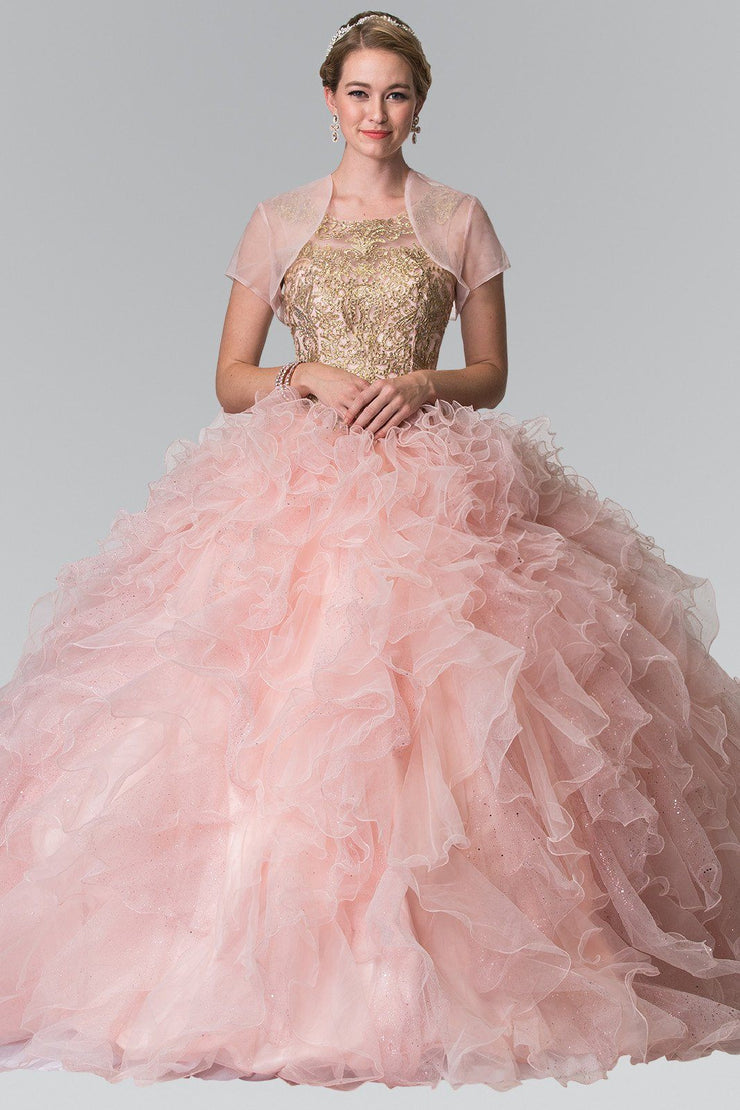 Embroidered Sleeveless Ruffled Ballgown by Elizabeth K GL2208-Quinceanera Dresses-ABC Fashion