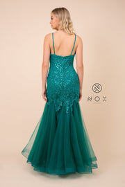 Embroidered Sleeveless Tulle Mermaid Dress by Nox Anabel H402