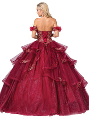 Embroidered Strapless Glitter Ball Gown by Dancing Queen 1348