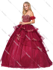 Embroidered Strapless Glitter Ball Gown by Dancing Queen 1348-Quinceanera Dresses-ABC Fashion