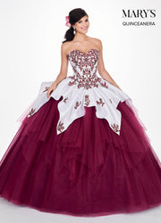 Embroidered Strapless Quinceanera Dress by Mary's Bridal MQ2056-Quinceanera Dresses-ABC Fashion