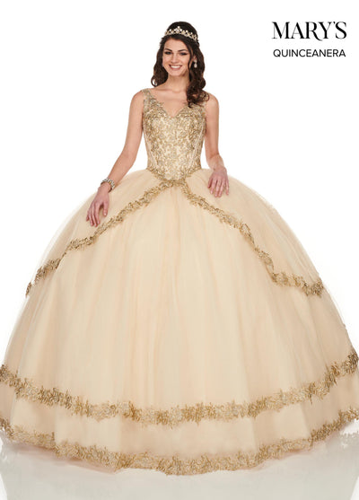 Embroidered V-Neck Quinceanera Dress by Mary's Bridal MQ1047-Quinceanera Dresses-ABC Fashion