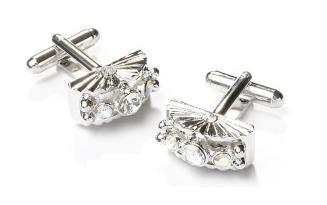 Fan Shaped Silver Cufflinks with Clear Crystals-Men's Cufflinks-ABC Fashion