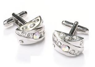 Fan Shaped Silver Cufflinks with Crystals-Men's Cufflinks-ABC Fashion