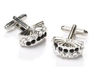 Fan Silver Cufflinks with Black and Clear Crystals-Men's Cufflinks-ABC Fashion