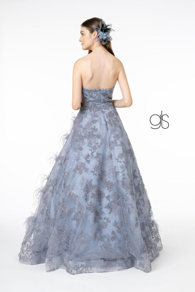 Feather Embellished Strapless Ball Gown by Elizabeth K GL1834