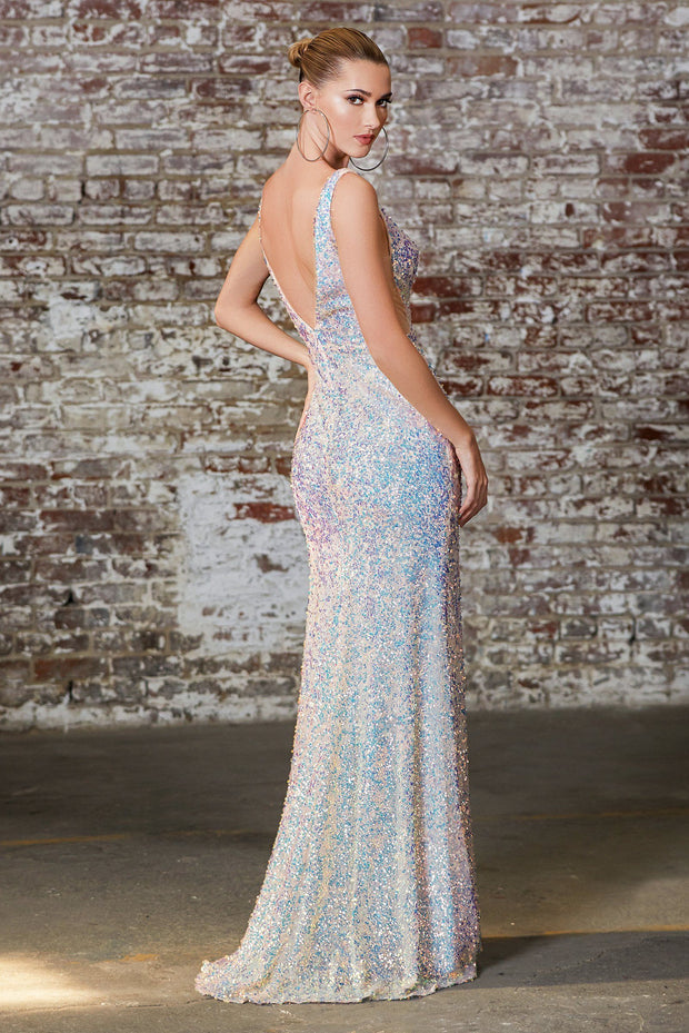Fitted 3D Iridescent Sequin Gown by Cinderella Divine CD187