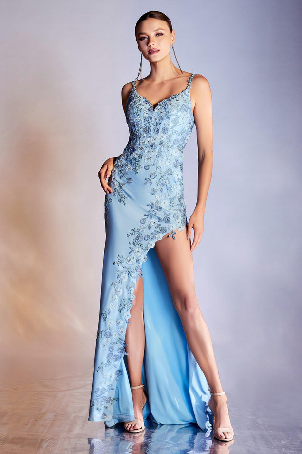 Fitted Floral Applique Slit Dress by Cinderella Divine CM315