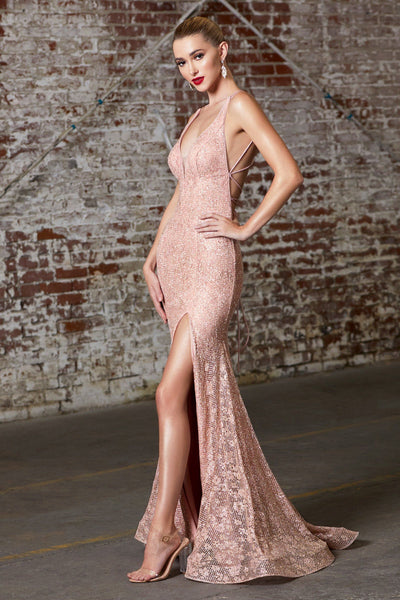 Fitted Glitter Lace Gown by Cinderella Divine J9486