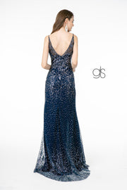 Fitted Glitter Mesh V-Neck Gown with Slit by Elizabeth K GL1844