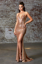 Fitted Gold Sequin V-Neck Gown by Cinderella Divine CDS372