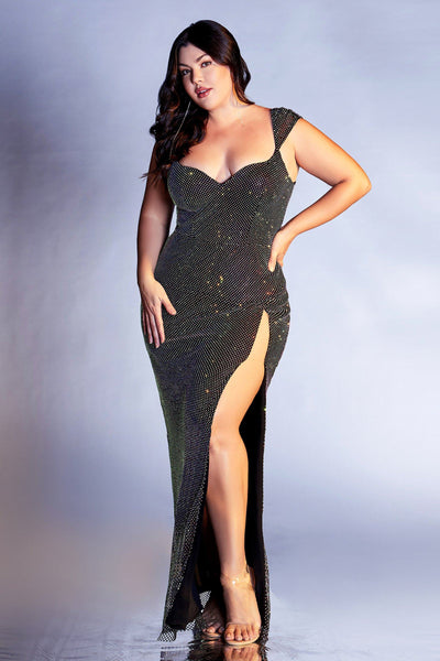 Fitted Iridescent Curve Gown by Cinderella Divine CD216C