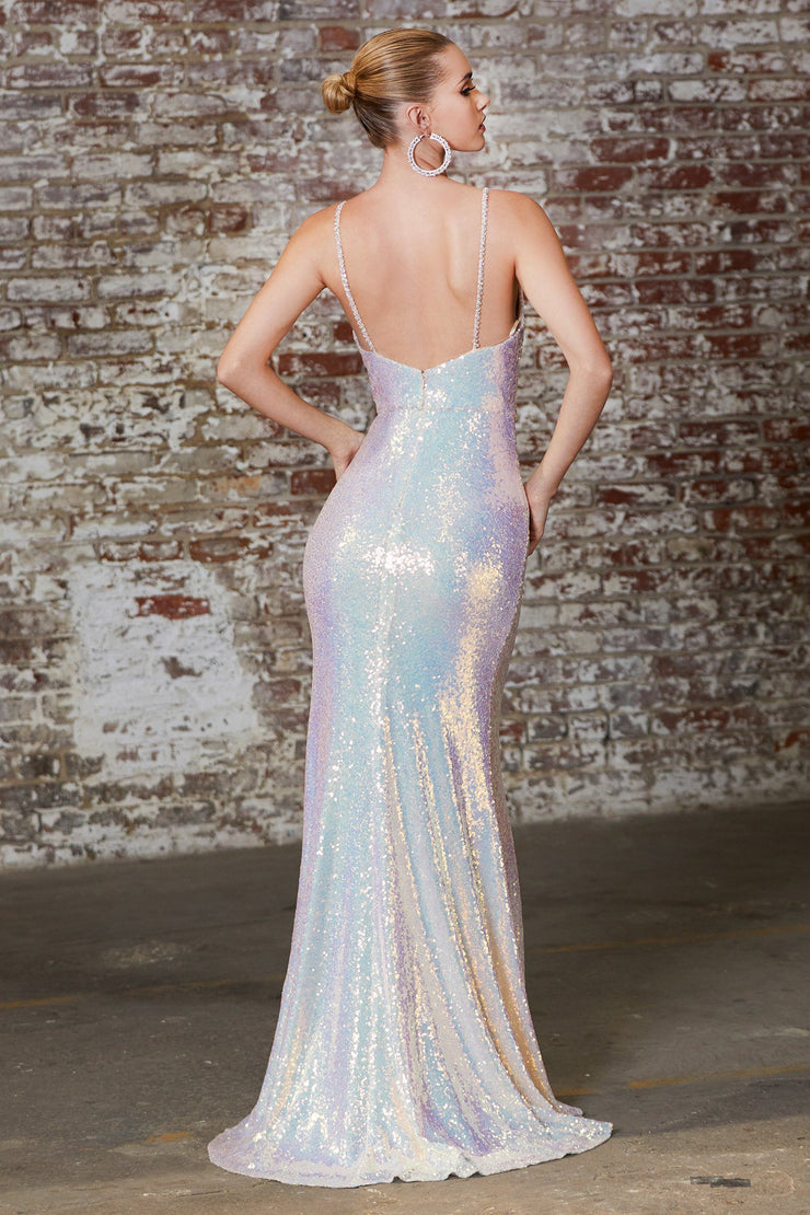 Fitted Iridescent Sequin Gown by Cinderella Divine CD202