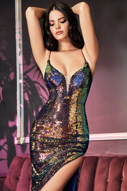 Fitted Iridescent Sequin Gown by Cinderella Divine CDS393