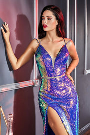 Fitted Iridescent Sequin Gown by Cinderella Divine CH218