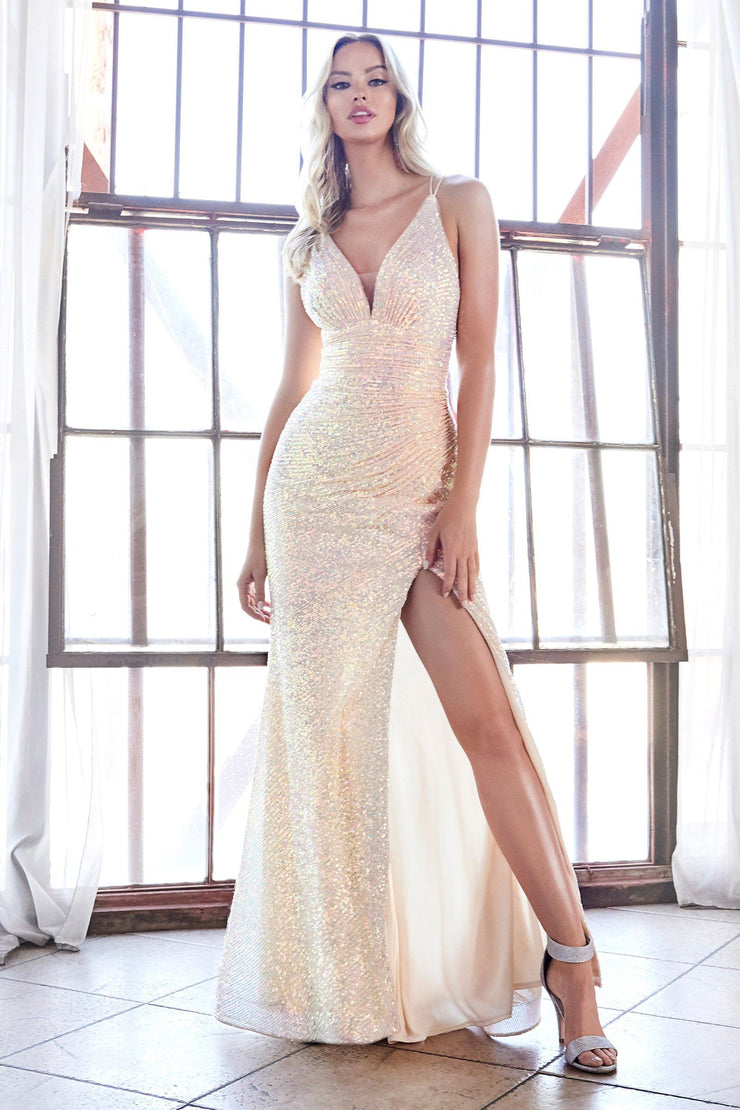 Fitted Iridescent Sequin Gown with Slit by Cinderella Divine J9585