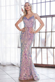 Fitted Iridescent Sequin Print Gown by Cinderella Divine CD904