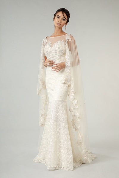 Fitted Lace Cape Wedding Gown by Elizabeth K GL1918