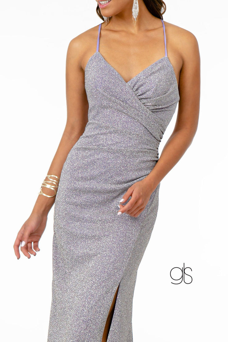 Fitted Long Glitter Crepe Dress with Corset Back by Elizabeth K GL1831