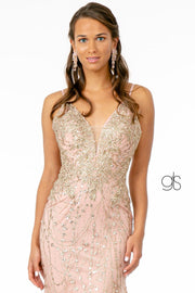 Fitted Long Glitter Dress with Corset Back by Elizabeth K GL2938