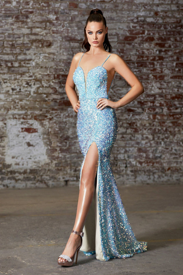 Fitted Long Iridescent Sequin Dress by Cinderella Divine CD176