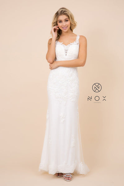 Fitted Long Lace Applique V-Neck Dress by Nox Anabel W907