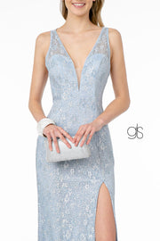Fitted Long Metallic Floral Lace Dress by Elizabeth K GL2898