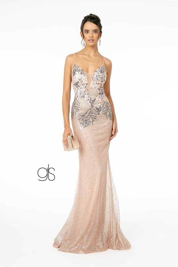 Fitted Long Metallic Glitter Ombre Dress by Elizabeth K GL2929