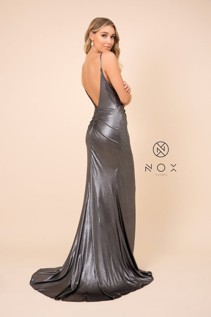 Fitted Long Metallic Spandex V-Neck Dress by Nox Anabel E365