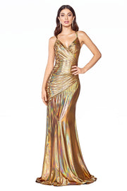 Fitted Long Metallic V-Neck Dress by Cinderella Divine CR847