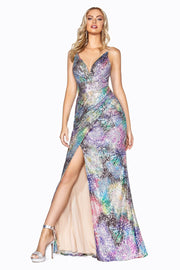 Fitted Long Multi-Color Sequin Dress by Cinderella Divine CDS346
