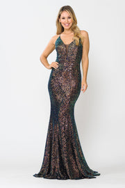 Fitted Long Multi Color Sequin V-Neck Dress by Poly USA 8650
