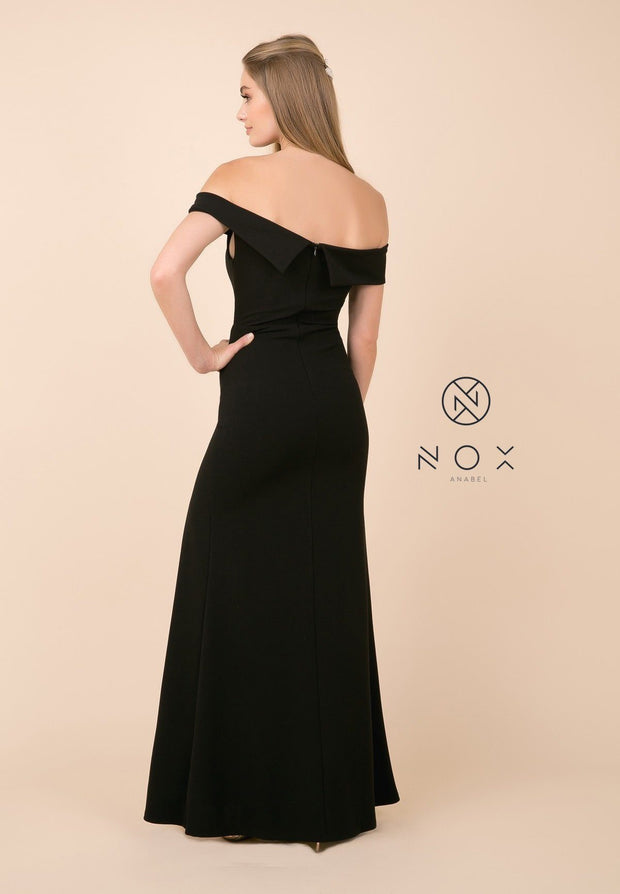 Fitted Long Off Shoulder Dress with High Slit by Nox Anabel K401-Long Formal Dresses-ABC Fashion