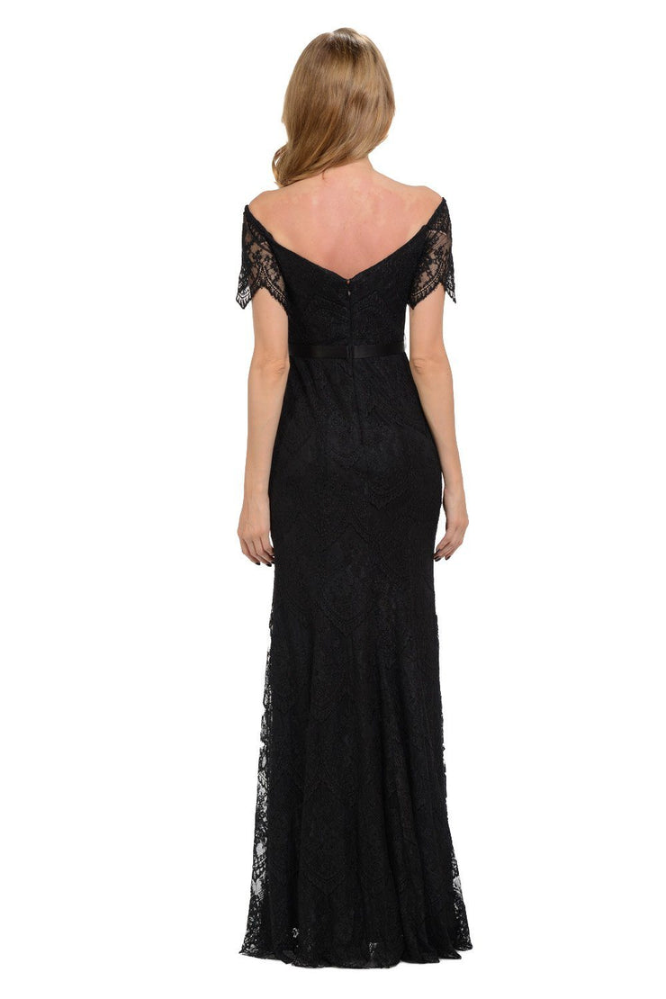 Fitted Long Off Shoulder Lace Dress by Poly USA 8030