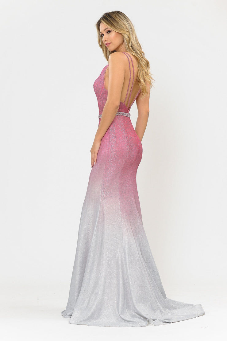 Fitted Long Ombre Glitter V-Neck Dress by Poly USA 8334