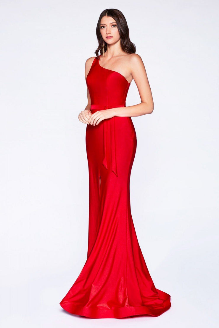 Fitted Long One Shoulder Dress with Slit by Cinderella Divine CD0143-Long Formal Dresses-ABC Fashion