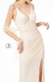 Fitted Long Sequin Dress with Corset Back by Elizabeth K GL1814
