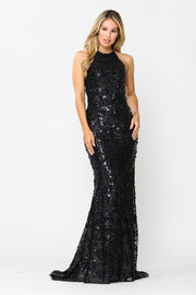 Fitted Long Sequin Dress with Corset Back by Poly USA 8646