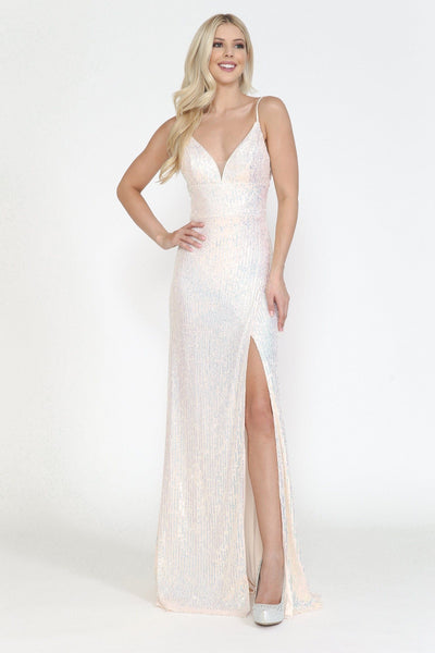 Fitted Long Sequin Dress with Slit by Poly USA 8720