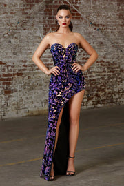 Fitted Long Sequin Print Dress by Cinderella Divine CD206