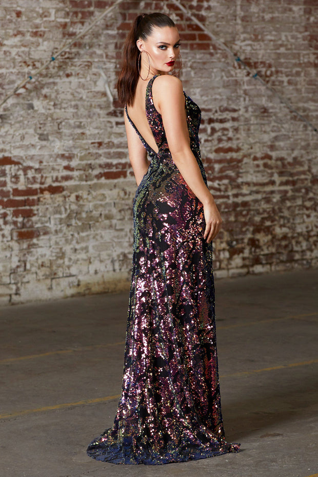 Fitted Long Sequin Print Dress with Slit by Cinderella Divine CF347