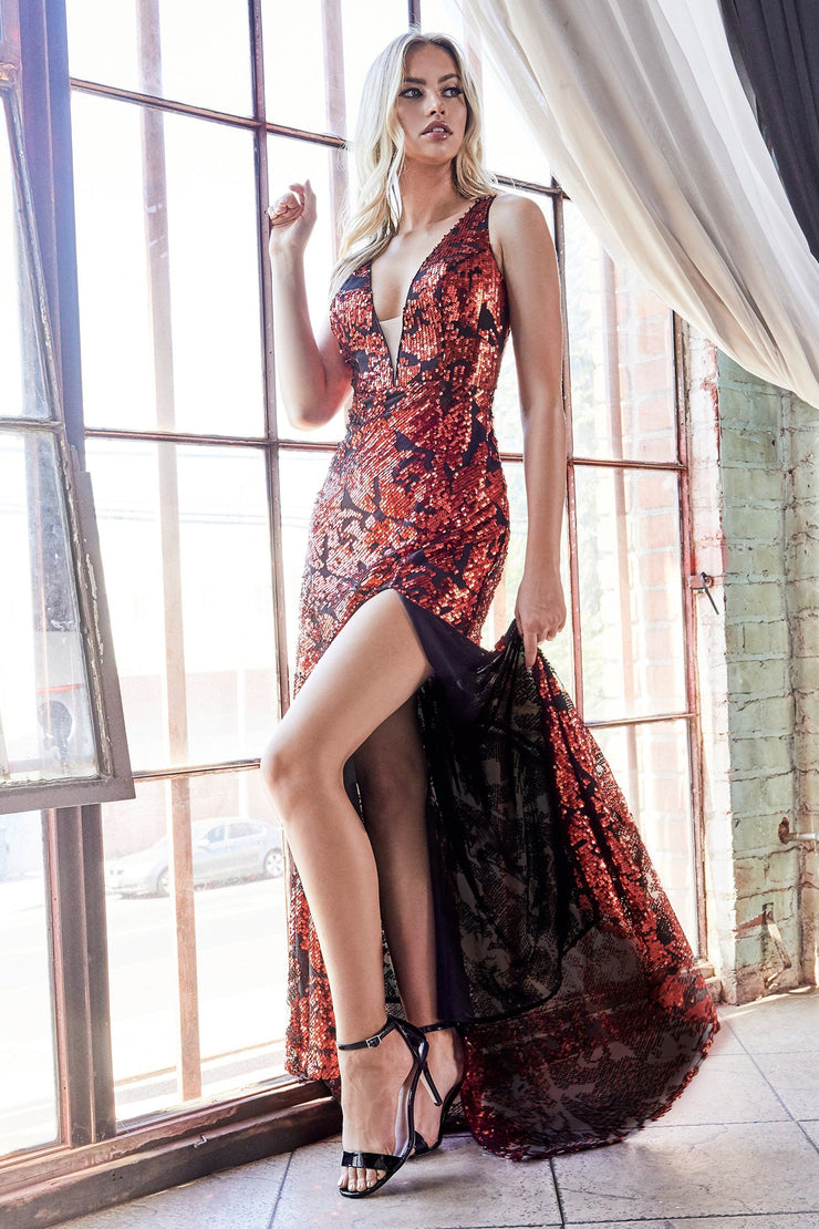 Fitted Sequin Print Gown with Slit by Cinderella Divine CF347